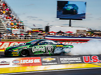 Sep 2, 2017; Clermont, IN, USA; NHRA pro stock driver Alex Laughlin during qualifying for the US Nationals at Lucas Oil Raceway. Mandatory Credit: Mark J. Rebilas-USA TODAY Sports