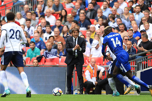 20th August 2017, Wembley Stadium, London, England; EPL Premier League football, Tottenham Hotspur versus Chelsea; Chelsea Manager Antonio Conte watches Tiemoue Bakayoko of Chelsea make a run