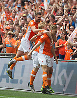 Blackpool's Brad Potts celebrating during the Sky Bet League 2 PLAY OFF FINAL match between Exeter City and Blackpool at Wembley Stadium, London, England on 28 May 2017. Photo by Andrew Aleksiejczuk.