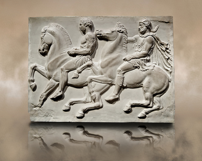 Releif Sculptures from the frieze around the Parthenon Block IV. From the Parthenon of the Acropolis Athens. A British Museum Exhibit known as The Elgin Marbles