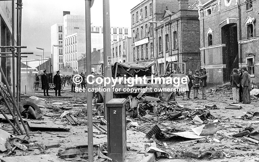 Not only did the much-bombed Europa Hotel in Belfast, N Ireland, suffer serious damage in this latest Provisional IRA bomb attack but there was considerable collateral damage to business premises in adjacent Glengall Street.  The building on the extreme right is the Grand Opera House which coincidentally was staging Chitty Chitty Bang Bang. 19720408002..Copyright Image from Victor Patterson, 54 Dorchester Park, Belfast, United Kingdom, UK...For my Terms and Conditions of Use go to http://www.victorpatterson.com/Victor_Patterson/Terms_%26_Conditions.html