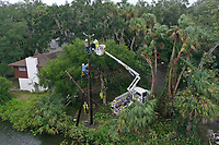 Gulf Power crews restoring power during Hurricane Dorian in Daytona, Fla. on September 4, 2019
