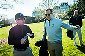 United States Senator Rand Paul (Republican of Kentucky), left, makes a brief statement to the media after returning to the White House from a round of golf with President Trump at his golf course, Trump National in Virginia on April 2, 2017 in Washington, DC. A White House spokesperson said they discussed a variety of topics, including healthcare.  <br /> Credit: Pete Marovich / Pool via CNP