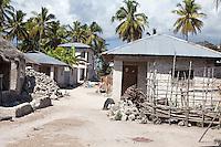 Jambiani, Zanzibar, Tanzania.  Village Street Scene, Typical Houses.