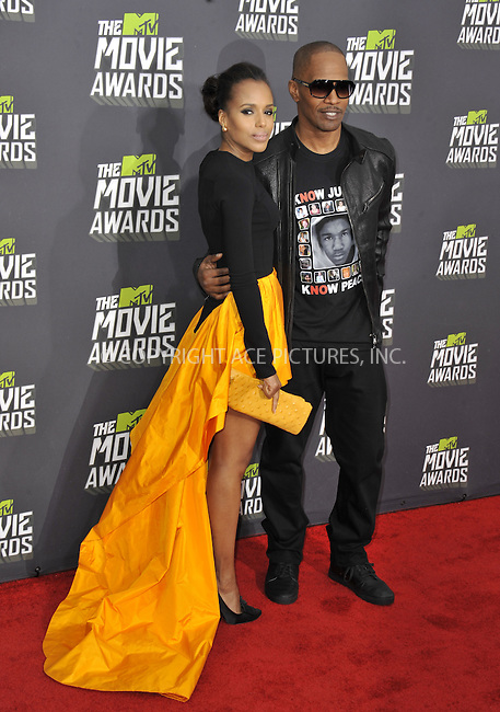 WWW.ACEPIXS.COM....April 14 2013, LA......Kerry Washington and Jamie Foxx arriving at the 2013 MTV Movie Awards at Sony Pictures Studios on April 14, 2013 in Culver City, California. ....By Line: Peter West/ACE Pictures......ACE Pictures, Inc...tel: 646 769 0430..Email: info@acepixs.com..www.acepixs.com