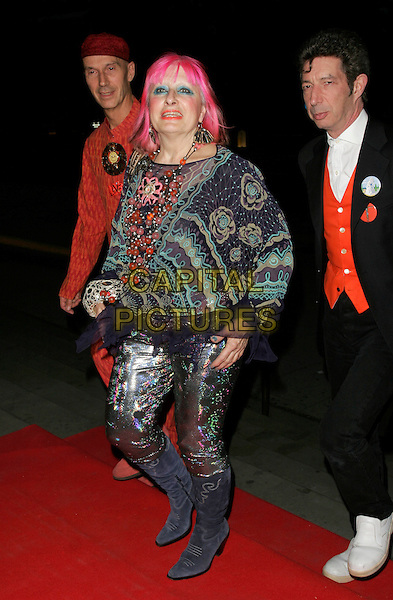 ZANDRA RHODES .UK Launch of the Montblanc Fine Diamond Jewellery Collection, Victoria & Albert Museum, London, England..April 24th, 2007.V&A mont blanc full length pink hair purple boots metallic trousers pattern top necklace beads beaded green .CAP/AH.©Adam Houghton/Capital Pictures