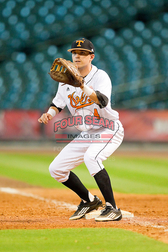 Tennessee Volunteers first baseman Parker Wormsley #4 waits for a throw during the game against the Texas Longhorns at Minute Maid Park on March 3, 2012 in Houston, Texas.  The Volunteers defeated the Longhorns 5-4.  (Brian Westerholt/Four Seam Images)