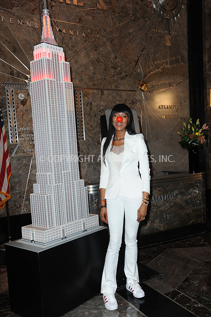 www.acepixs.com<br /> May 24, 2016  New York City<br /> <br /> Naomi Campbell was seen lighting the Empire State Building red in honor of Red Nose Day on May 24, 2016 in New York City.<br /> <br /> <br /> Credit: Kristin Callahan/ACE Pictures<br /> <br /> <br /> Tel: 646 769 0430<br /> Email: info@acepixs.com