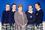 Students from Presentation Secondary School, Tralee, who presented a cheque to Cuan Mhuire, on Friday morning last, as they held a non uniform day and staff charity lunch at the school, l-r: Niamh Furlong, Rachel McCarthy  Sr Brid Clifford, Jennifer Nolan and Aoife Doyle.
