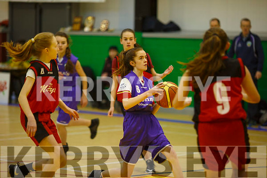 Action from the KABB U14 Division 3 Girls basketball final St Colman's v St Mary's Castleisland in Moyderwell, Tralee on Saturday last.