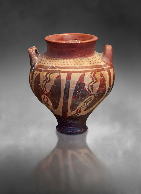 Small Mycenaean amphora decorated with double headed axes, Grave VI, Grave Circle A, Mycenae 16-15 Cent BC. National Archaeological Museum Athens. Cat No 196.  Grey art Background
