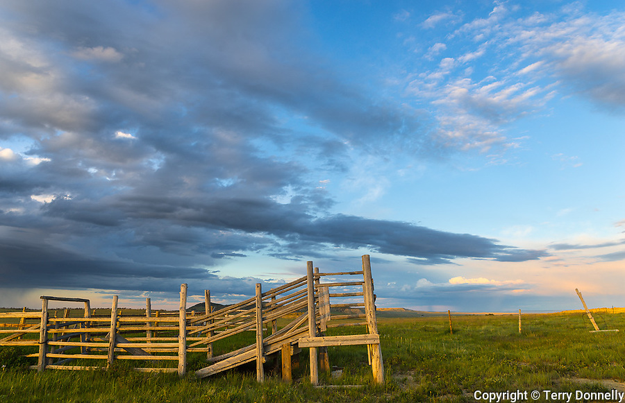 Teton County, Montana: Cattle pen under evening clouds on the plains of the Front Range