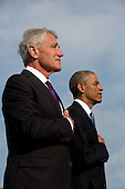 United States President Barack Obama and U.S. Secretary of Defense Chuck Hagel shown during a ceremony at the Pentagon to mark the 13th anniversary of the September 11th, 2001 terrorist attacks, in Washington, Thursday, September 11, 2014.<br /> Credit: Martin Simon / Pool via CNP