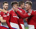 Gaston Ramirez of Middlesbrough celebrating with team mate Viktor Fischer after scoring his teams first goal of the game during the English Premier League match at Riverside Stadium, Middlesbrough. Picture date: December 5th, 2016. Pic Jamie Tyerman/Sportimage