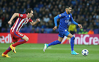 Leicester City's Riyad Mahrez chased by Atletico Madrid's Diego Godin<br /> <br /> Photographer Stephen White/CameraSport<br /> <br /> UEFA Champions League Quarter Final Second Leg - Leicester City v Atletico Madrid - Tuesday 18th April 2017 - King Power Stadium - Leicester <br />  <br /> World Copyright &copy; 2017 CameraSport. All rights reserved. 43 Linden Ave. Countesthorpe. Leicester. England. LE8 5PG - Tel: +44 (0) 116 277 4147 - admin@camerasport.com - www.camerasport.com