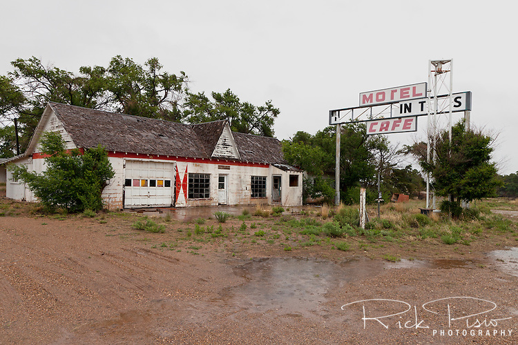 Longhorn Motel and Cafe along Route 66 in Glenrio, Texas.  Glenrio straddled the Texas-New Mexico state line and thrived through the 40's, 50's, and 60's until the Interstate bypassed the town in 1975.
