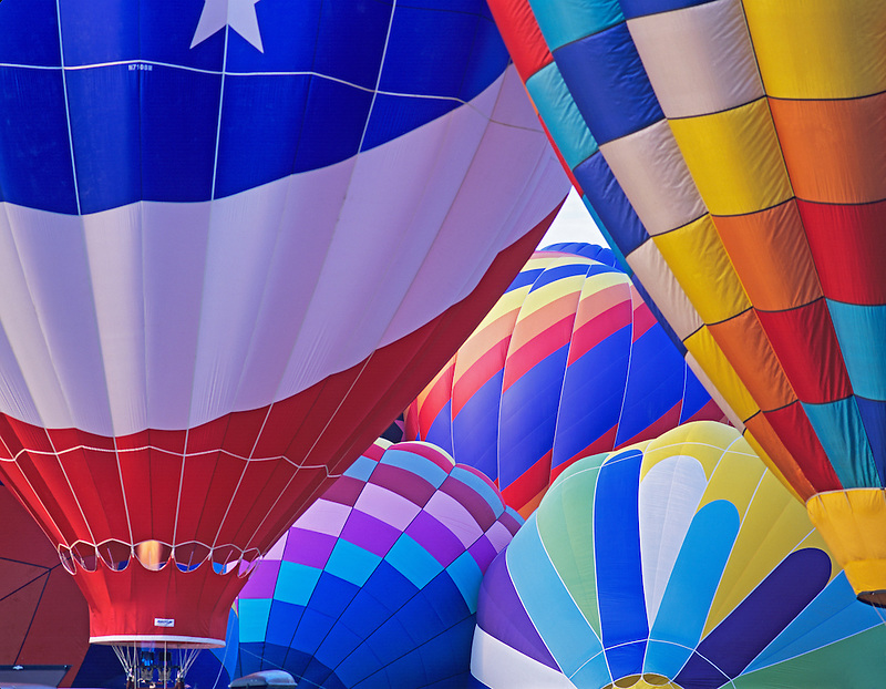 Close up of hot air balloons. Art and Air Festival. Albany Oregon
