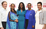 """George Drance, Malaika Uwamahoro, Immaculee ILibagiza, Valentine Rugwabiza, Rwanda Ambassador to the UN and Leslie Malaika Lewis during a reception for  """"Miracle in Rwanda"""" honoring International Day of Reflection on the 1994 Genocide against the Tutsi in Rwanda at the Lion Theatre on Theater Row on April 7, 2019 in New York City."""