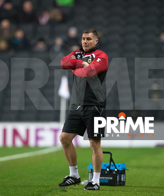 MK Dons Caretaker Manager Richie Barker  looks concerned as his team trail 1 0 during the Sky Bet League 1 match between MK Dons and Chesterfield at stadium:mk, Milton Keynes, England on 22 November 2016. Photo by Andy Rowland.