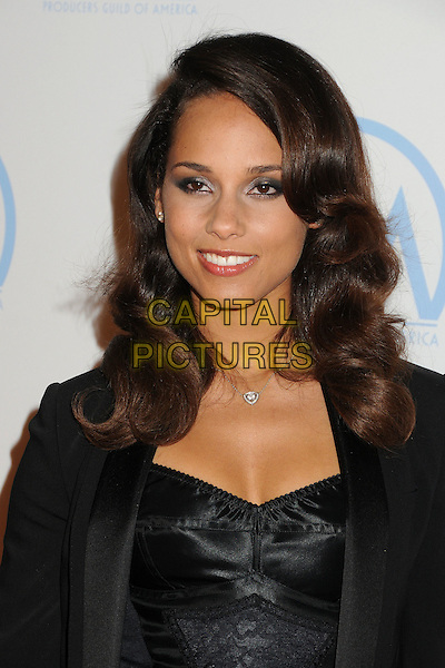 Alicia Keys.23rd Annual Producers Guild Awards held at the Beverly Hilton Hotel, - Beverly Hills, California, USA, .21st January 2012..portrait headshot  jacket   black lace  bustier .CAP/ADM/BP.©Byron Purvis/AdMedia/Capital Pictures.