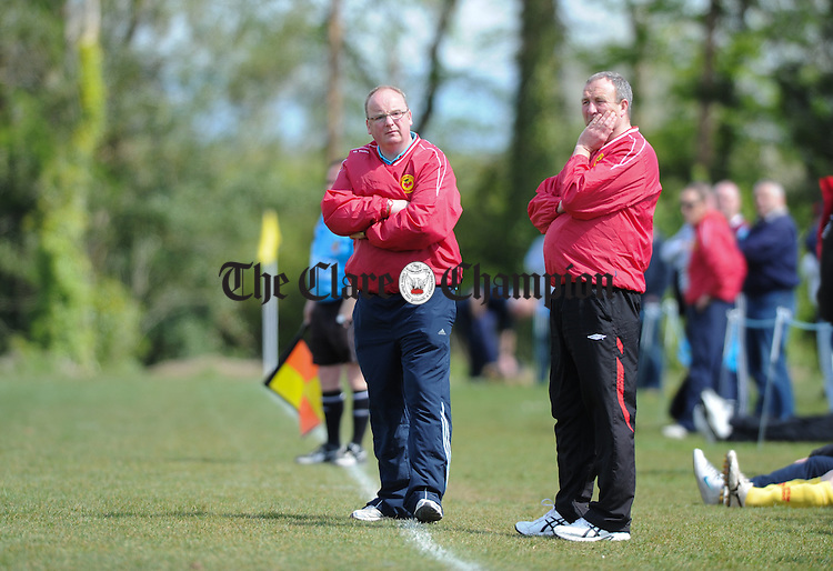 Avenue United's Pat Mc Daid and John O Malley on the sideline against Newmarket during their game at Lees road. Photograph by John Kelly.