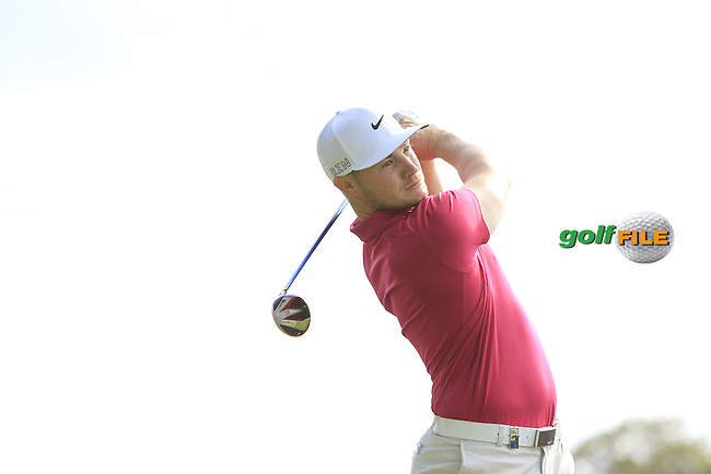 Oliver Fisher (ENG) on the 13th tee during a Practice round of the 2015 KLM Open at the Kennemer Golf &amp; Country Club in The Netherlands on 9/9/15.<br /> Picture: Thos Caffrey   Golffile