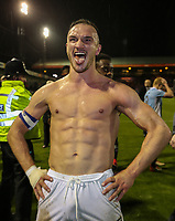 Tom Aldred of Blackpool celebrates victory after the Sky Bet League 2 Play Off Semi Final 2 leg match between Luton Town and Blackpool at Kenilworth Road, Luton, England on 18 May 2017. Photo by David Horn.