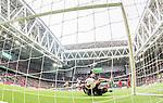 Stockholm 2015-04-25 Fotboll Allsvenskan Hammarby IF - &Aring;tvidabergs FF :  <br /> Hammarbys Nahir Besara g&ouml;r 2-0 efter att bollen tagit i bakhuvudet huvudet p&aring; &Aring;tvidabergs m&aring;lvakt Henrik Gustavsson under matchen mellan Hammarby IF och &Aring;tvidabergs FF <br /> (Foto: Kenta J&ouml;nsson) Nyckelord:  Fotboll Allsvenskan Tele2 Arena Hammarby HIF Bajen &Aring;tvidaberg &Aring;FF jubel gl&auml;dje lycka glad happy