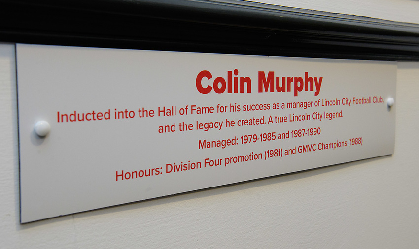 Lincoln City have inducted former manager Colin Murphy as the inaugural member of their Hall of Fame.<br /> <br /> Photographer Chris Vaughan/CameraSport<br /> <br /> The EFL Sky Bet League Two - Saturday 15th December 2018 - Lincoln City v Morecambe - Sincil Bank - Lincoln<br /> <br /> World Copyright © 2018 CameraSport. All rights reserved. 43 Linden Ave. Countesthorpe. Leicester. England. LE8 5PG - Tel: +44 (0) 116 277 4147 - admin@camerasport.com - www.camerasport.com