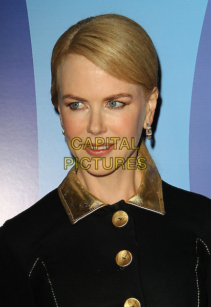 Nicole Kidman<br /> Variety's 5th Annual Power Of Women Event held at the Beverly Wilshire Four Seasons Hotel, Beverly Hills, California, USA, <br /> 4th October 2013.<br /> portrait headshot  black velvet gold dress coat buttons collar<br /> CAP/ADM/KB<br /> &copy;Kevan Brooks/AdMedia/Capital Pictures