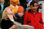 "Jenna Bush, left, roars as she reads from the book, ""Where the Wild Things Are,"" to kids at the annual White House Easter Egg Roll March 24, 2008 on the South Lawn of the White House in Washington, DC. The Easter Egg Roll is a traditional all-American event held on the White House lawn each year since 1878, where kids compete by using a giant wooden spoon to push an egg.  <br /> Credit: Ken Cedeno / Pool via CNP"