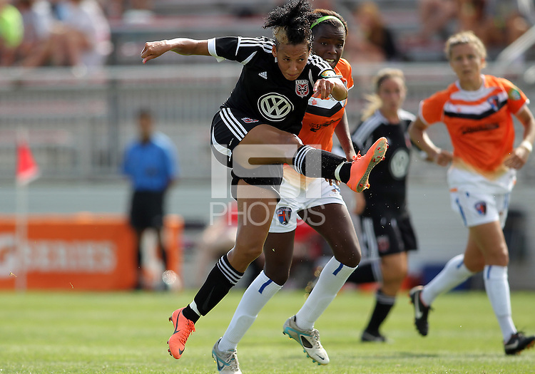 BOYDS, MARYLAND - July 22, 2012:  Lianne Sanderson (10) of DC United Women follows through her shot that scored against the Charlotte Lady Eagles during the W League Eastern Conference Championship match at Maryland Soccerplex, in Boyds, Maryland on July 22. DC United Women won 3-0.