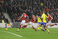 Leeds United's Jack Clarke  scores his sides first goal  <br /> <br /> Photographer Mick Walker/CameraSport<br /> <br /> The EFL Sky Bet Championship - Nottingham Forest v Leeds United - Tuesday 1st January 2019 - The City Ground - Nottingham<br /> <br /> World Copyright &copy; 2019 CameraSport. All rights reserved. 43 Linden Ave. Countesthorpe. Leicester. England. LE8 5PG - Tel: +44 (0) 116 277 4147 - admin@camerasport.com - www.camerasport.com