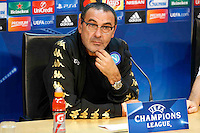 holds a press conference at at CastelVolturno Center at eve of Champions league soccer match against Benfica