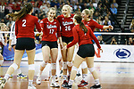 KANSAS CITY, KS - DECEMBER 14: The University of Nebraska celebrates a point against Penn State University during the Division I Women's Volleyball Semifinals held at Sprint Center on December 14, 2017 in Kansas City, Missouri. (Photo by Tim Nwachukwu/NCAA Photos via Getty Images)