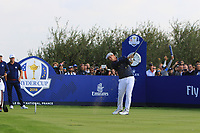 Bryson DeChambeau (Team USA) on the 8th tee during the Friday Foursomes at the Ryder Cup, Le Golf National, Ile-de-France, France. 28/09/2018.<br /> Picture Thos Caffrey / Golffile.ie<br /> <br /> All photo usage must carry mandatory copyright credit (© Golffile | Thos Caffrey)