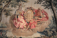 Summer, 1673, from a series of Gobelins tapestries on the seasons, after drawings by Charles Le Brun, 1619-90, in the Antechamber of the Empress, Chateau de Fontainebleau, France. The Palace of Fontainebleau is one of the largest French royal palaces and was begun in the early 16th century for Francois I. It was listed as a UNESCO World Heritage Site in 1981. Picture by Manuel Cohen