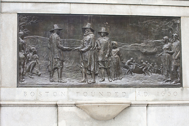 Bas relief of the Pilgrims landing in the New World. Boston founded AD 1650