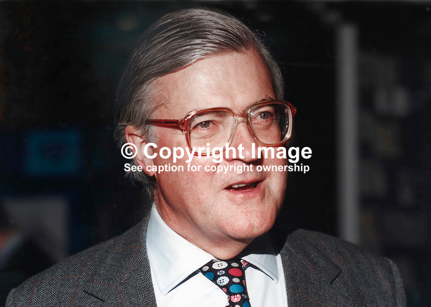 Kenneth Baker, MP, Conservative Party, UK, Westminster Parliament, 19941010/KB/B.<br /> <br /> Copyright Image from Victor Patterson, 54 Dorchester Park, Belfast, UK, BT9 6RJ<br /> <br /> t1: +44 28 9066 1296 (from Rep of Ireland 048 9066 1296)<br /> t2: +44 28 9002 2446 (from Rep of Ireland 048 9002 2446)<br /> m: +44 7802 353836<br /> <br /> e1: victorpatterson@me.com<br /> e2: victorpatterson@gmail.com<br /> <br /> The use of my copyright images is subject to my Terms &amp; Conditions.<br /> <br /> It is IMPORTANT that you familiarise yourself with them. They are available on my website at www.victorpatterson.com.<br /> <br /> None of my copyright images may be used on a website unless they are visibly watermarked, i.e. &copy; Victor Patterson within the body of the visible image. Metadata denoting my copyright must NOT be deleted. <br /> <br /> Web use is extra at currently recommended NUJ rates.
