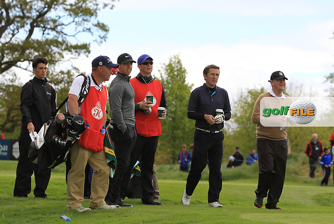 Rory McIlroy (NIR), AP McCoy (AM) and JP McManus (AM) on the 5th during Wednesday's Pro-Am round of the Dubai Duty Free Irish Open presented  by the Rory Foundation at The K Club, Straffan, Co. Kildare<br /> Picture: Golffile | Thos Caffrey<br /> <br /> All photo usage must carry mandatory copyright credit <br /> (&copy; Golffile | Thos Caffrey)