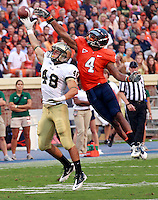 Sept. 3, 2011 - Charlottesville, Virginia - USA; Virginia Cavaliers safety Rodney McLeod (4) defends William & Mary Tribe wide receiver Sean Ballard (48) during an NCAA football game at Scott Stadium. Virginia won 40-3. (Credit Image: © Andrew Shurtleff