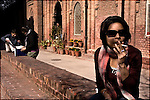 Young students/women hang out in the court yard at the Lahore College of Arts - a liberal fine arts college in Lahore