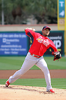 Pitcher Carlos Martinez (18) of the St. Louis Cardinals throws a pitch during a spring training game against the Miami Marlins at the Roger Dean Complex in Jupiter, Florida on March 5, 2015. St. Louis defeated Miami 4-1. (Stacy Jo Grant/Four Seam Images)