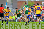 Aidan O'Mahony, Kerry in action against Shane Hickey, Clare in the Munster Senior Championship Semi Final in Cusack Park, Ennis on Sunday.