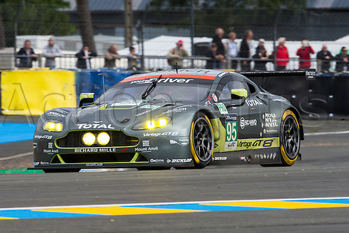 15.06.2016. Le Mans Circuit, Le Mans, France. Le Mans 24 Hours Practice and Qualifying. Aston Martin Racing Aston Martin Vantage GTE LMGTE Pro driven by Nicki Thiim, Marco Sorensen and Darren Turner.