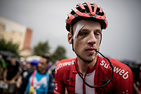 patched up (from a previous stage) Martijn Tusveld (NED/Sunweb) at the finish<br /> <br /> Stage 8: Valls to Igualada (167km)<br /> La Vuelta 2019<br /> <br /> ©kramon