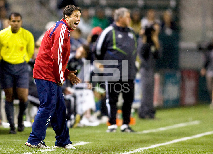 Chivas USA head coach Preki shouts out directions to his players. Chivas USA defeated the Seattle Sounders 1-0 at Home Depot Center stadium in Carson, California on Saturday evening June 6, 2009.   .