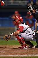 Williamsport Crosscutters catcher Greg Brodzinski (40) during a game against the Batavia Muckdogs on August 28, 2015 at Dwyer Stadium in Batavia, New York.  Batavia defeated Williamsport 6-0.  (Mike Janes/Four Seam Images)