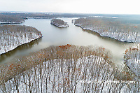 63877-01005 Aerial view of Stephen A. Forbes State Park Lake with snow Marion Co. IL