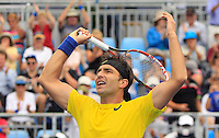 Marinko Matosevic of Australia celebrates after defeating Andreas Seppi of Italy during their men's singles match at the Sydney International tennis tournament in Sydney, Australia, Wednesday, Jan. 8, 2014. IMAGE RESTRICTED TO EDITORIAL USE ONLY. Photo by Daniel Munoz/VIEWpress